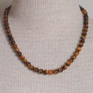 Vintage Tiger's Eye Brown Gemstone Necklace