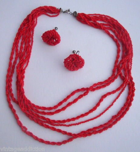 Vintage Sexy Red Multi Strand Necklace Earrings Set