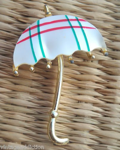 Vintage Checkers Umbrella Mother Of Pearl  Pin/Brooch