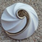 Vintage White Cream Enamel Pin Brooch Signed Torino