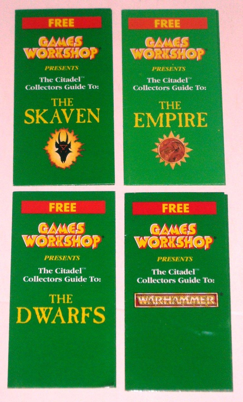 Lot of 4 Games Workshop Citadel Collectors Guides Warhammer Dwarfs Empire Skaven