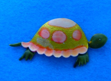 Vintage Turtle tortoise brooch pin enamel 60's Retro