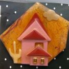 Lucinda House original  pin south western  orange glitter
