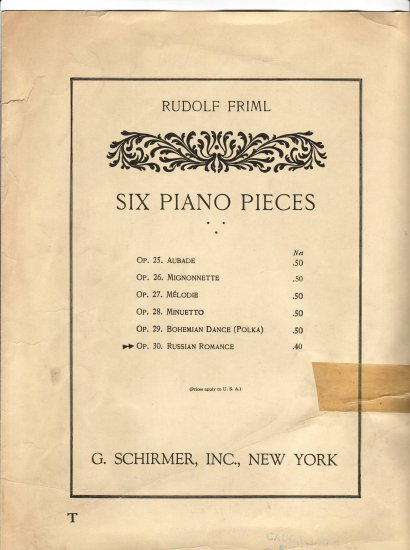 Rudolf Friml Russian Romance piano sheet music