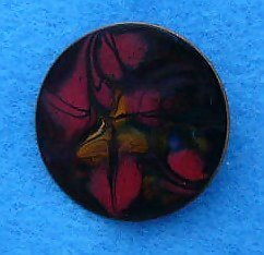 Vintage copper red enamel Metallic pin brooch