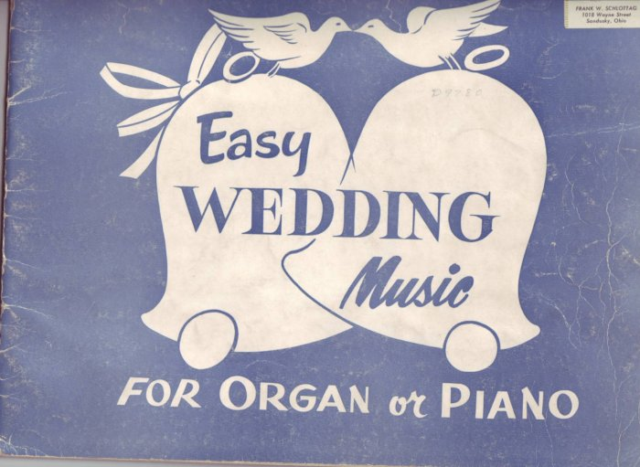 50's wedding Romantic Classic  Music Book Piano organ Peery