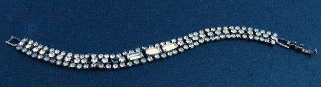 Vintage Rhinestone Triple row Bracelet