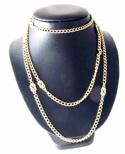 Vintage Goldtone Monet Necklace Long  knot design