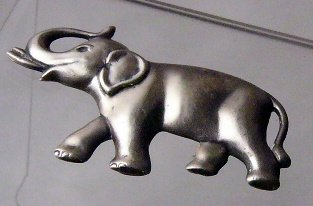 Vintage Sterling Silver  Elephant Pin