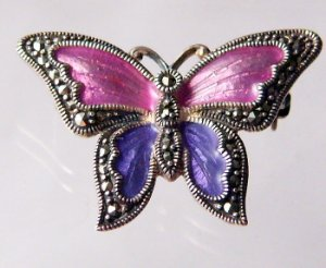 Butterflies are for forever Sterling Silver Butterfly purple enamel  blue Pin