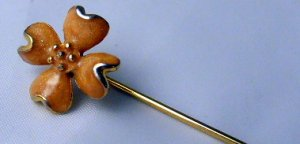 Butterscotch dogwood enamel  flower stick pin