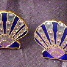 A night at the Beach Enamel Seashell pierced post earrings signed