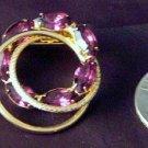 Vintage Never ending Circle pin Purple rhinestones
