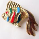 I'm swimming to you Goldtone enamel Striped fish  VTG