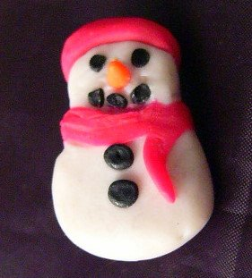 Handmade by Who? Small Snowman Rustic feel Polymer ?