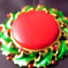 Christmas Pin Red Berries Iridescent Green Holly Round