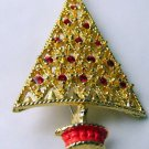 Retro  Christmas Tree Pin Goldtone Red openwork