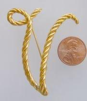 Goldtone Initial Letter Pin  V Script