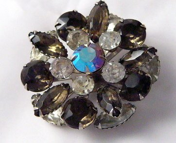 Retro BIG Atomic Eames era  Rhinestone Pin