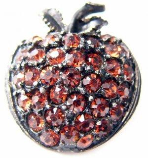 Retro orange red rhinestones apple black metal pin brooch