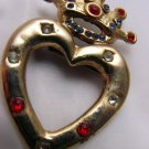 Vintage You have crowned my Heart rhinestone  pin