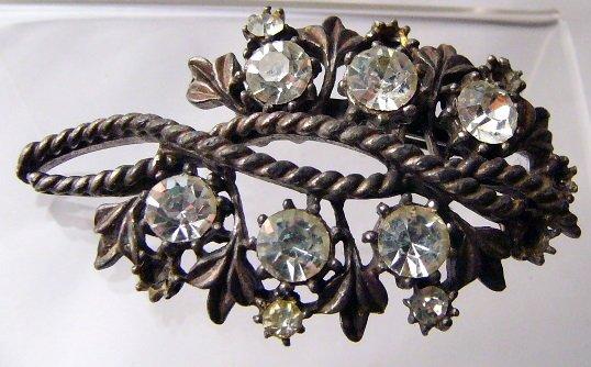 Vintage Coro Potmetal Rhinestone Pin TLC entwined flowers