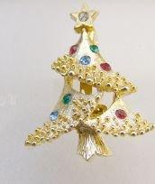 Mini Christmas tree pin rhinestones  detailed