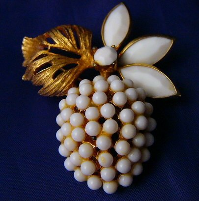 Apple, Cherry you pick Bsk signed Fruit  Milk Glass Pin