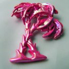 Very Retro Iridescent  Pink Palm Tree pin Summer days Nights
