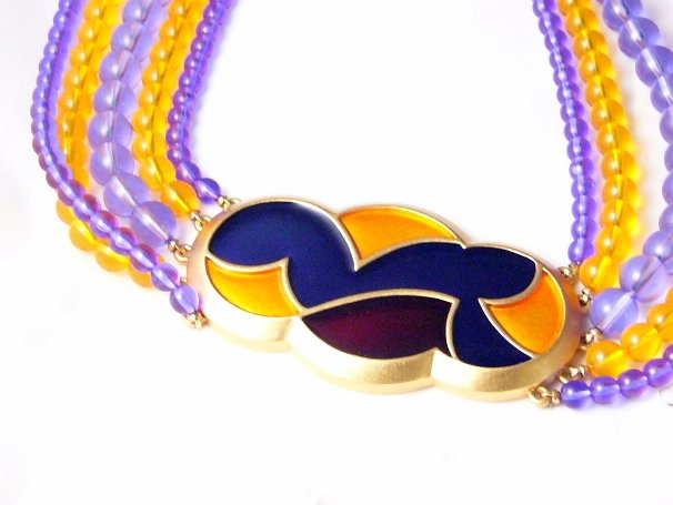 BIG Enamel 5 strand bead Necklace Signed Monet Vintage
