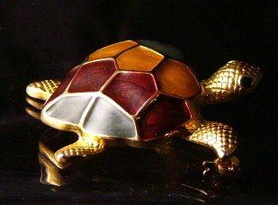 Multi color Enamel shell Goldtone Turtle pin