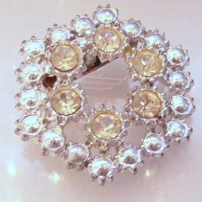 SIlvertone Hexagon ATomic era  Rhinestone Pin