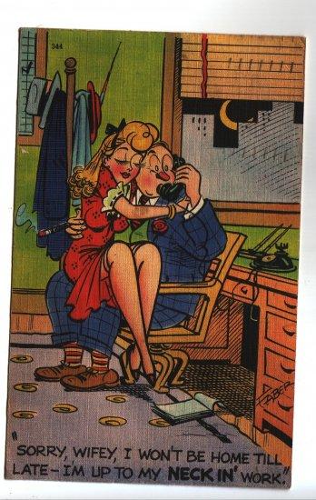 Vintage  Faber art comic Postcard Risqué pcOfice Wife