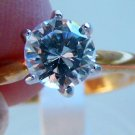 clear Cubic Zirconia Ring 18 Kt GE 6 prong solitaire New size 9
