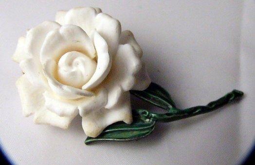 Vintage White Rose plastic Pin enamel
