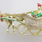 Gerrys Christmas Pin Horse carriage Riders enamel