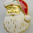 Enamel Santa Claus Head  Christmas Pin Brooch