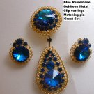 Vintage Demi Parure Blue rivoli rhinestone Pin Earrings