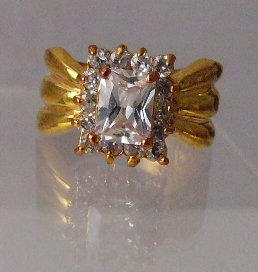 CZ Ice Rectangle box Goldtone Ring
