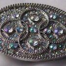 Rhinestone STudded Belt Buckle Oval Silvertone Glitz Glam