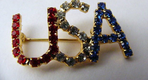 Red White Blue Rhinestone USA Pin Goldtone