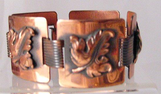 Vintage Chunky Copper Leaf Panel  Link Bracelet