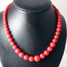 Vintage Red Plastic graduated  Bead Necklace
