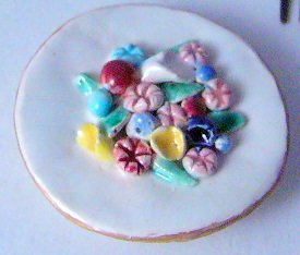 Vintage Ceramic Circle flower  Dress Clip