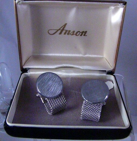 Vintage Anson Silvertone Mesh Cufflinks cuff links