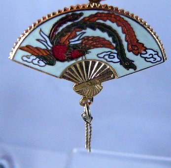 Vintage oldstock Fan with Bird Cloisonne  Pendant