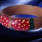 Strawberry design  red Retro  Painted wood Bangle Bracelet