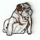 BULLDOG DOG PUPPY  HANDPAINTED NECKLACE PIN ADORABLE