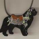 NEWFOUNDLAND  DOG PIN NECKLACE HANDPAINTED CAROUSEL