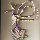 CAT LADY SPIRIT HAND PAINTED HAND CRAFTED  HANDROLLED PAPER BEADS PRETTY PIECE